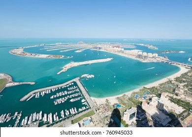 Jumeirah Palm Island dubai shot from a helicopter. Ariel view of the palm island.