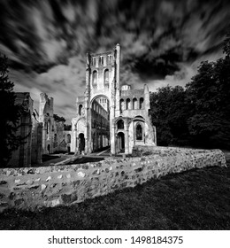 Jumieges, Normandy / France - 13 August 2019: the ruins of the old abbey and Benedictine monastery at Jumieges in Normandy in France