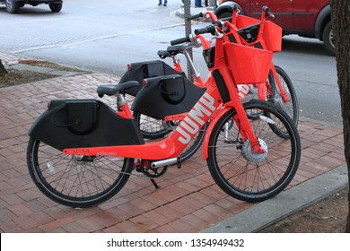 A JUMP on-demand electric bike in  downtown San Antonio. JUMP Bikes is a dockless electric bicycle sharing system acquired by Uber - San Antonio, Texas, USA - March 30, 2019