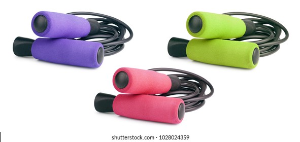 Jump rope or skipping rope isolated on white background. Sports, fitness, cardio, martial art and boxing accessories. Collection.
