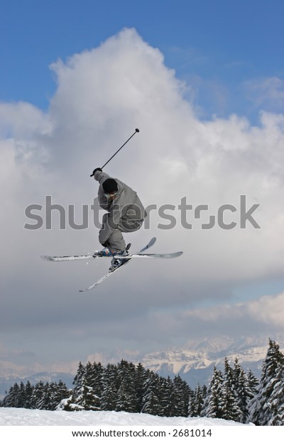 jump with ski in mountain
