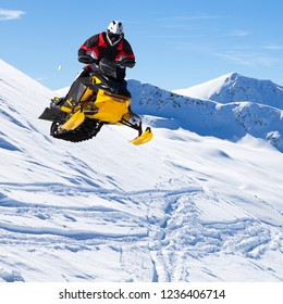 jump with snowmobile