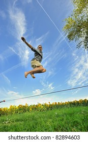 jump to a tightrope walker on a wire