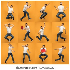 Jump of young man over orange studio background using laptop computer while jumping. Collage
