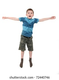 The jumped up boy. On a white background