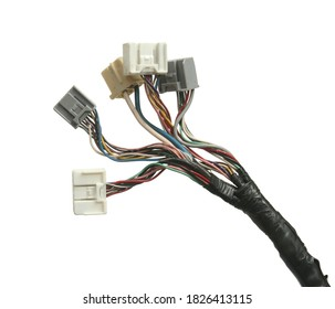 Jumper wire plug engine wiring harness (with clipping path) isolated on white background