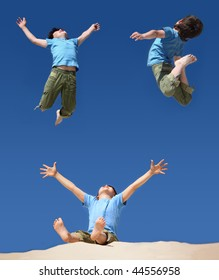 jumping boys on blue sky, sitting boy with hands and legs up on sand beach, collage