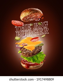 Jumping Burger ads, delicious and attractive hamburger with refreshing ingredients on brown background. Flying cheeseburger
