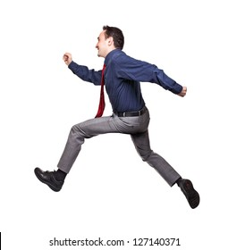 jumping businessman isolated on white background
