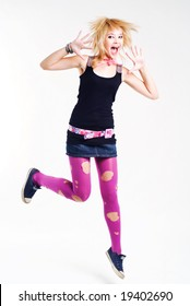 Jumping emo girl in pink lacerated stockings