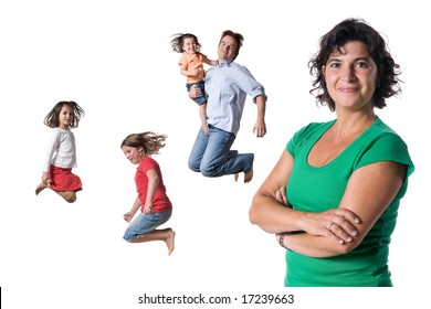 The jumping family. Full isolated studio picture