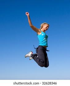 jumping girl blue sky high