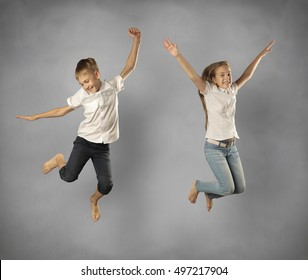 jumping girl and boy