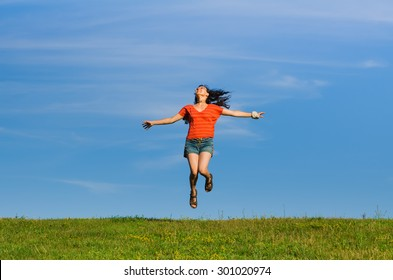 grass and sky backgrounds. Brilliant And Jumping Happy Emotion Woman On Grass And Sky Backgrounds Focus Intended Grass And Sky Backgrounds O