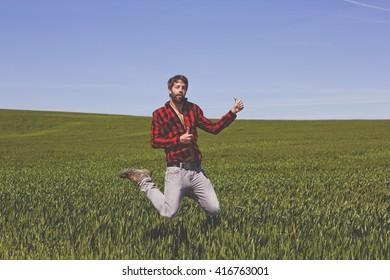 jumping Hispter at the field