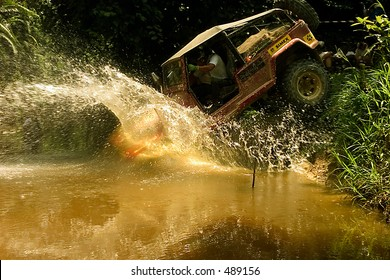 Jumping into river