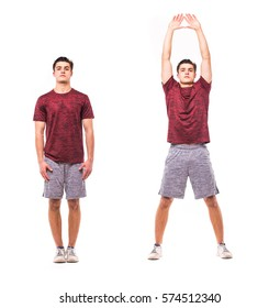 Jumping Jacks. Young man doing sport exercise.