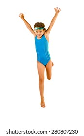 jumping little girl in swimsuit isolated on white