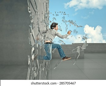 jumping man breaking glass to go outside