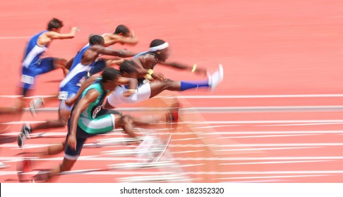 Jumping over hurdles, motion blur