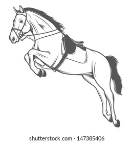 Jumping pole horse isolated on white background