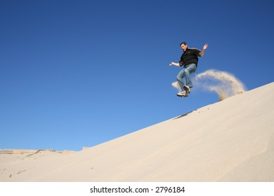 Jumping in the sand