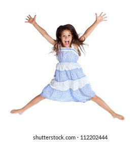 Jumping and screaming little girl, isolated on white