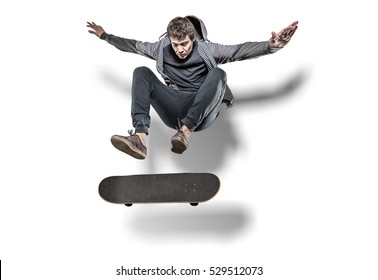 Jumping skateboarder isolated