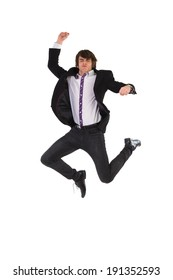 Jumping young man. Elegance young man jumping in the air. Full length studio shot isolated on white.