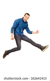 jumping young man isolated on a white background
