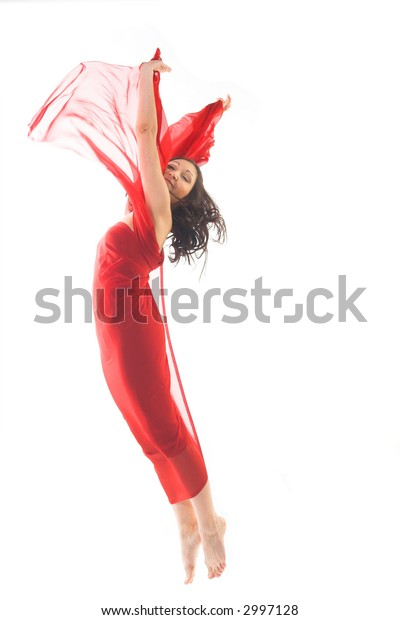 jumping young woman isolated on white
