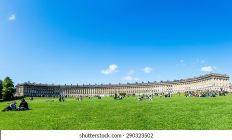 JUN 12,2015 UK,BATH: Panoramic View of the Royal Crescent in Bath England - The Georgian Era Crescent is One of Bath's and the UK's Foremost Tourist Attractions