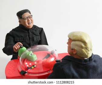 JUN 13 2018: Caricature of US President Donald Trump and North Korean Supreme Leader Kim Jong Un playing a friendly game of Hungry Hungry Hippos