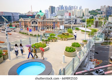Jun 20, 2017 View of Seoullo 7017 which is the pedestrian road of the Seoul Station overpass in South Korea