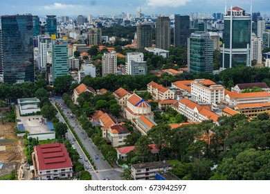 JUN 2017: Downtown Saigon in sunset. Ho Chi Minh city is the biggest city in Vietnam.