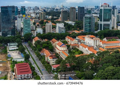 JUN, 2017: High view at sunset in Ho Chi Minh City, Vietnam