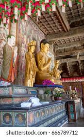 Jun 23, 2017 Buddha statue inside Daeungjeon of Bulguksa temple in Gyeongju, South Korea