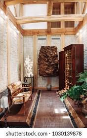 JUN 26, 2014 Kawasaki, Japan : Rustic interior  living room and vintage furnitures in country house