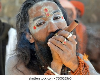 JUNAGADH, GUJARAT/INDIA - FEB 22, 2017: Hashish-smoking Indian sadhu with two tilak marks and white vibhuti holds chillum pipe with both hands during Bhavnath Fair (Shivratri Mela), on Feb 22, 2017.