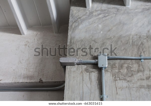 Junction Box Electrical Wiring On Concrete Stock Photo Edit Now 663031615