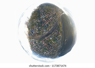 Junction Railway Station with lots of Lines and Freight Trains. Aerial Little Tiny Planet View. Location Kandalaksha Russia