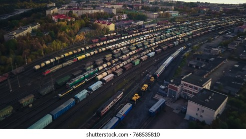 Junction Railway Station with lots of Lines and Freight Trains. Aerial View. Location Kandalaksha Russia