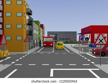 Junction with road signs: Right before left. 3d rendering