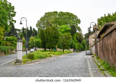 Junction of Via di Porta San Sebastiano (Via Appia/Appian Way) and Via di Porta Latina, and Guidepost on which the street names are inscribed, Rome, Italy