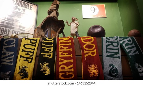 Jundiai, Sao Paulo, Brazil - July 25, 2019: Harry Potter movie collection items like scarf, Quidditch balls and frames