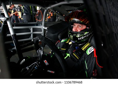 June 01, 2018 - Long Pond, Pennsylvania, USA: Kurt Busch (41) hangs out in the garage during practice for the Pocono 400 at Pocono Raceway in Long Pond, Pennsylvania.