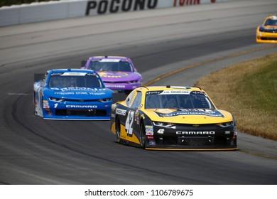 June 02, 2018 - Long Pond, Pennsylvania, USA: John Hunter Nemechek (42) battles for position during the Pocono Green 250 at Pocono Raceway in Long Pond, Pennsylvania.
