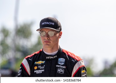 June 02, 2019 - Detroit, Michigan, USA: JOSEF NEWGARDEN (2) of the United States prepares to practice for the Detroit Grand Prix at Belle Isle in Detroit, Michigan.