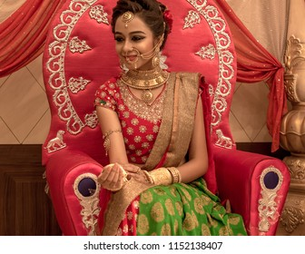 June 03,2018. Durgapur, India. An unidentified beautiful young Indian Model Poses with Indian  Bridal Make up.