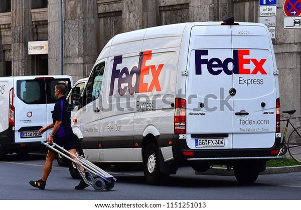 June 072018fedex Courier Service Delivers Parcels Stock